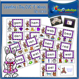 Valentine's Day CVC Words Clip Cards