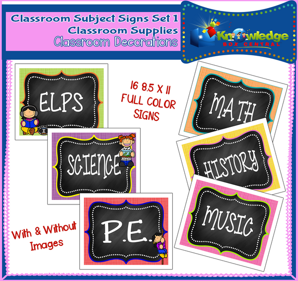 Classroom Subject Signs
