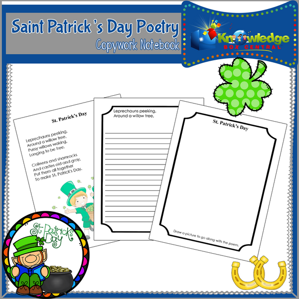 Saint Patrick's Day Poetry Copywork Notebook