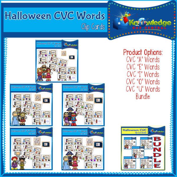 Halloween CVC Words Clip Cards