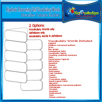 Algebraic Reasoning Unit Vocabulary Words Interactive Foldables