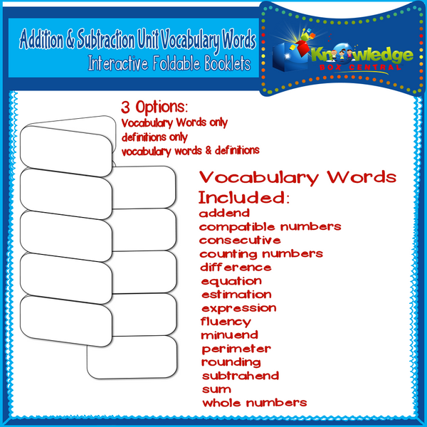 Addition & Subtraction Unit Vocabulary Words Interactive Foldable Booklets