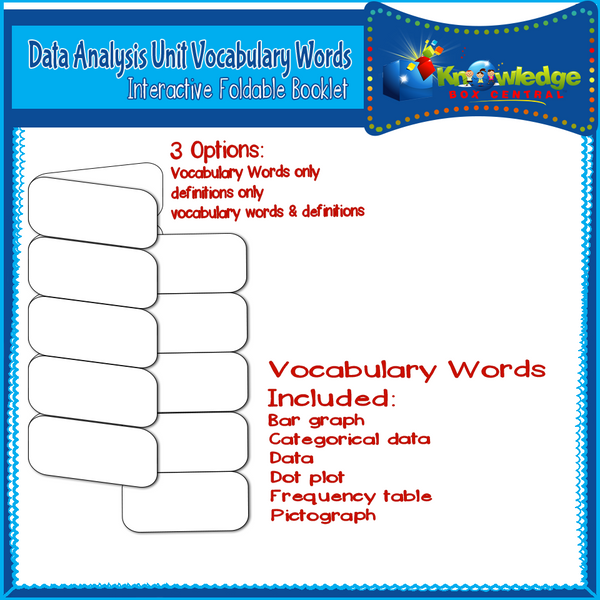 Data Analysis Unit Vocabulary Interactive Foldables for 3rd Grade