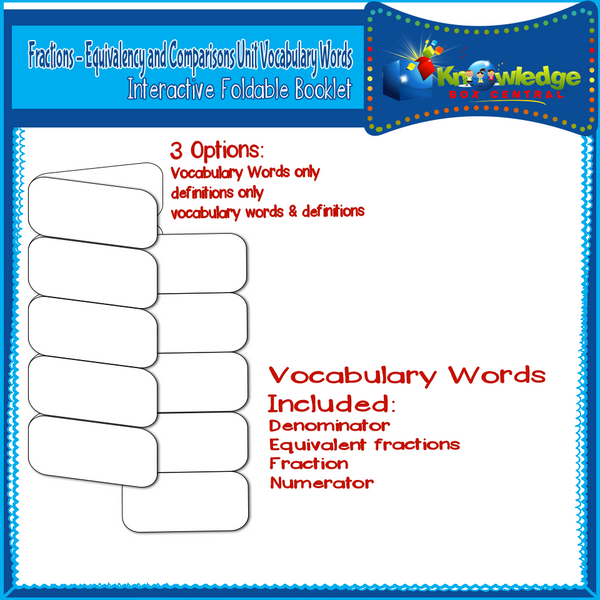 Fractions - Equivalency and Comparisons Unit Vocabulary Interactive Foldables for 3rd Grade