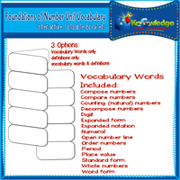 Foundations of Number Unit Vocabulary Interactive Foldables for 3rd Grade