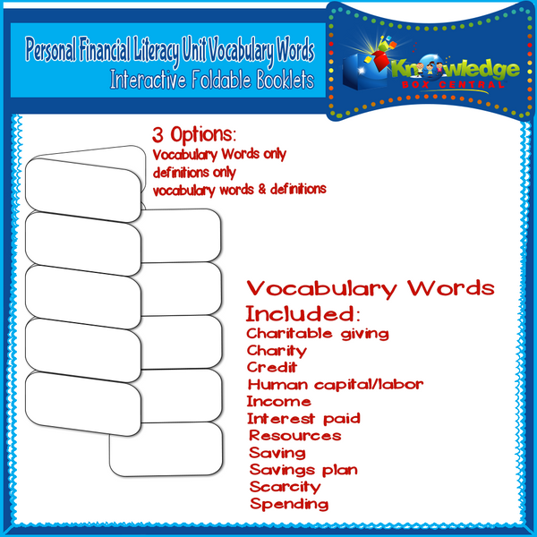 Personal Financial Literacy Unit Vocabulary Words Interactive Foldables for 3rd Grade