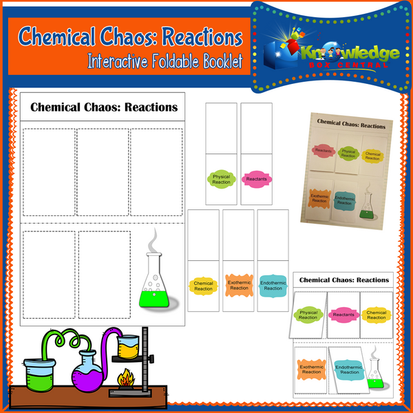 Chemical Chaos: Reactions Interactive Foldable Booklets
