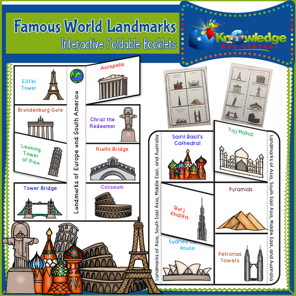 Famous World Landmarks Interactive Foldable Booklets