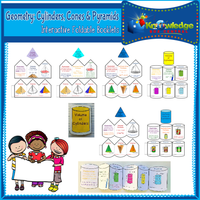 Geometry: Cylinders, Cones, & Pyramids Interactive Foldable Booklets