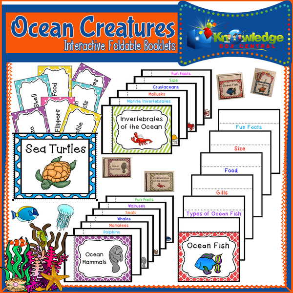 Ocean Creatures Interactive Foldable Booklets