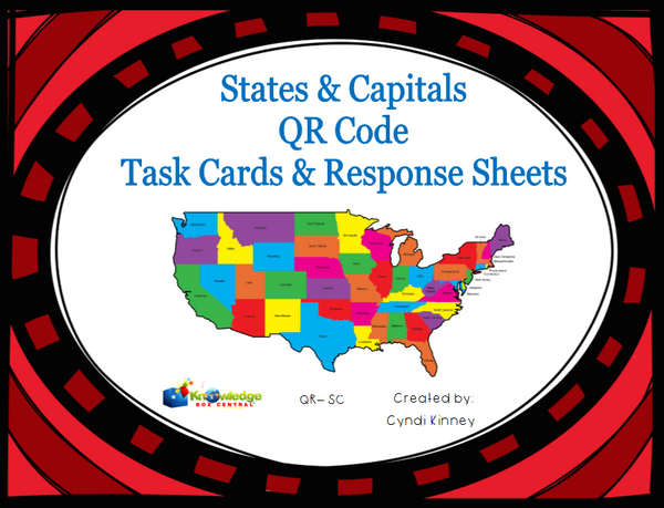 States & Capitals QR Code Task Cards