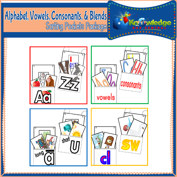 Alphabet, Vowels, Consonants, & Blends Sorting Pockets Package