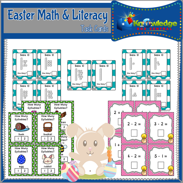Easter Math & Literacy Task Cards for Kindergarten