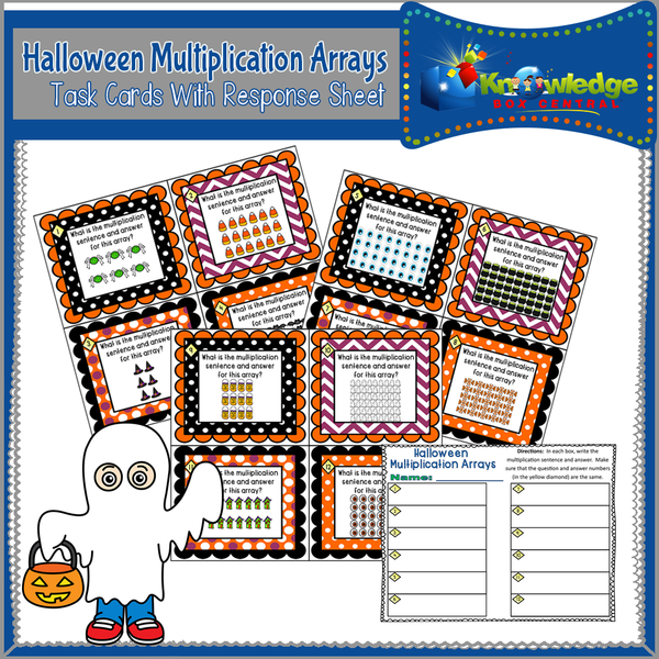 Halloween Multiplication Arrays Task Cards