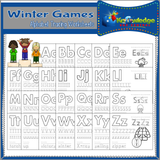 Winter Games Alphabet Tracing Pages