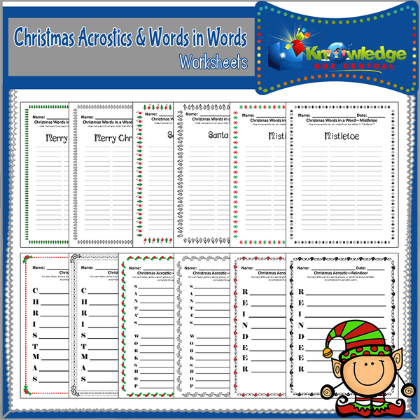 Acrostics and Words in Words Worksheets