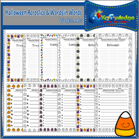 Halloween Acrostics and Words in Words Worksheets
