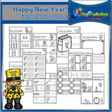 New Year's Kindergarten Math & Literacy Worksheets