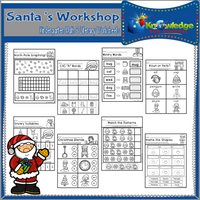 Christmas Kindergarten Math & Literacy Worksheets