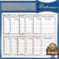 Thanksgiving Acrostics and Words in Words Worksheets