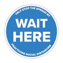 "Load image into Gallery viewer, ""Wait Here"" Social Distancing Floor Decal"
