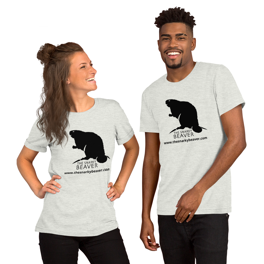 The Snarky Beaver - Couple wearing logo t-shirt
