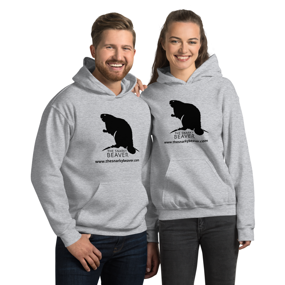The Snarky Beaver - Couple wearing logo hoodie