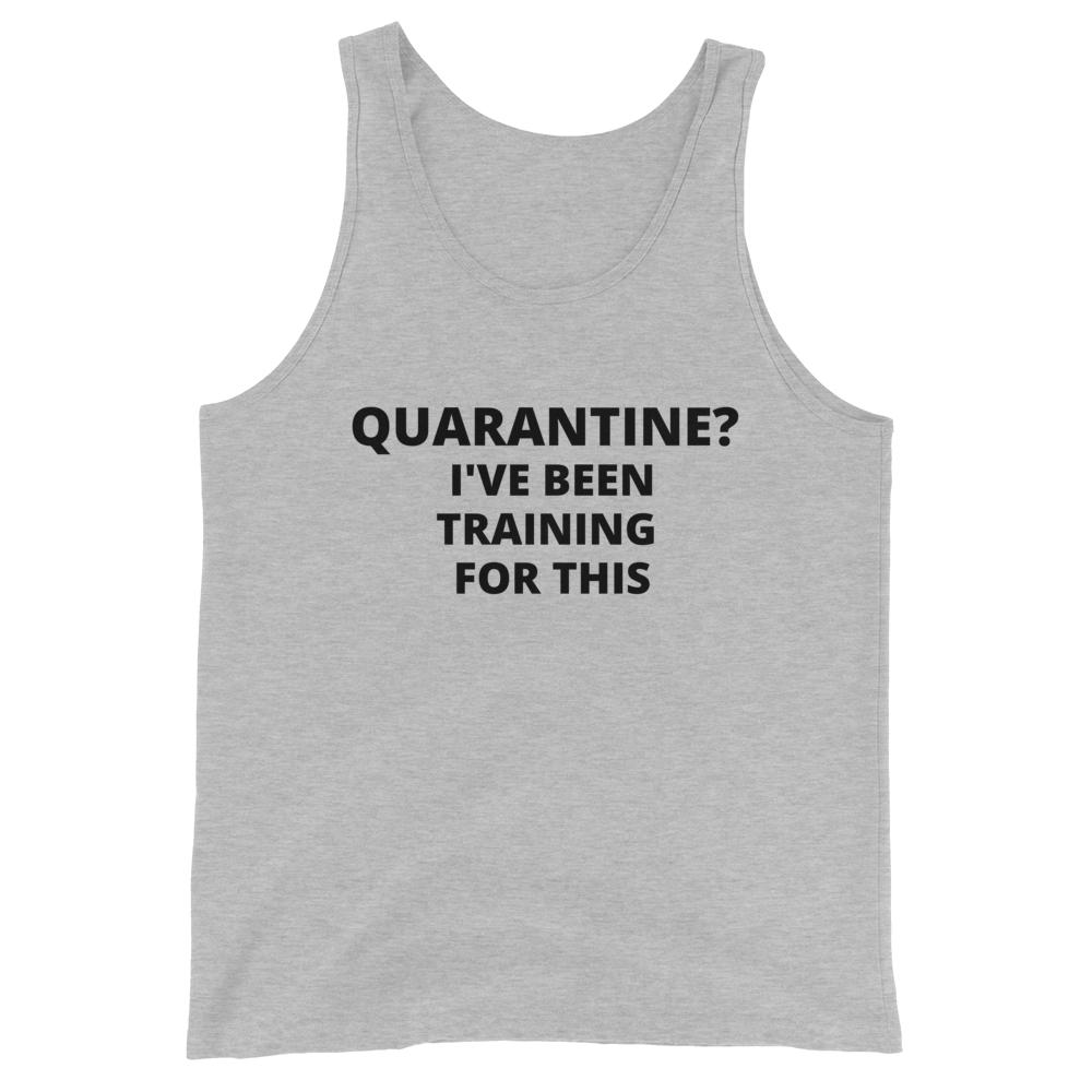 quarantine training, Snarky Beaver, sarcastic funny shirt, unisex tank, heather