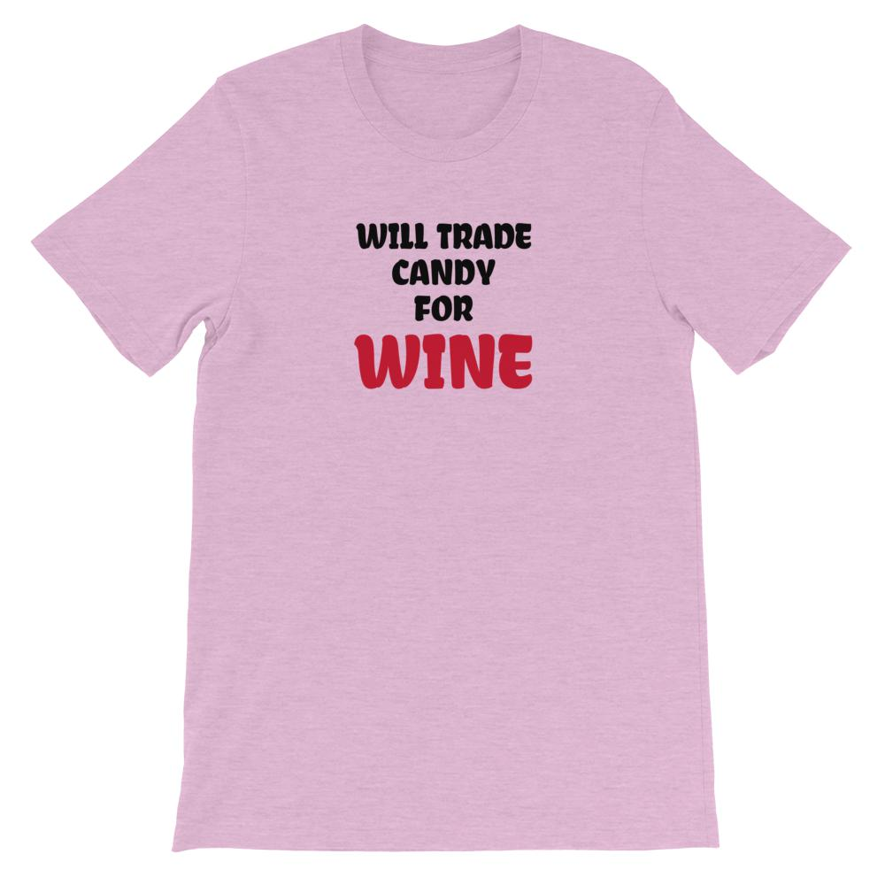Candy for Wine, Snarky Beaver, sarcastic funny shirt, unisex t-shirt, lilac