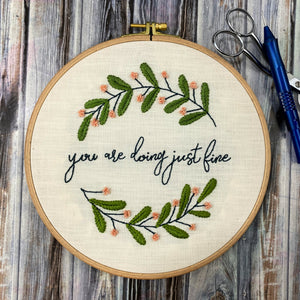 """you are doing just fine"" Punch Needle Embroidery Pattern"