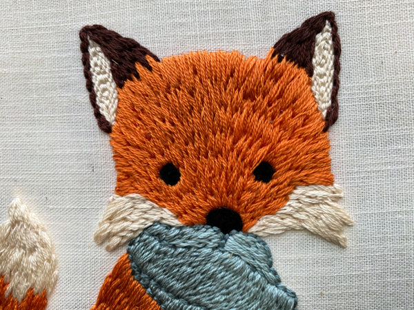 Fox in a Scarf PDF Punch Needle Embroidery Pattern - Winter Floral Scene
