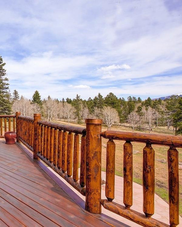 railing rail cedar log railing loft deck rustic country baluster spindle rails post copper caps home cabin mountains