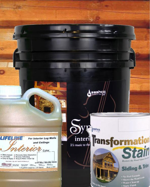 interior stain sealer topcoat clear coat pigment paint 5 gallon 1 gallon transformation siding and trim lifeline interior permachink sashco log home mart golden eagle log & Timber homes parmeter wisconsin maintenance upkeep Schroeder Log Home Supply