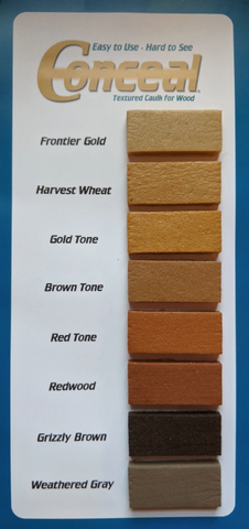 conceal textured caulk sealant caulking sashco chink chinking backer rod log cabin home repair remodel frontier gold harvest wheat gold tone brown tone red tone redwood grizzly brown weathered gray