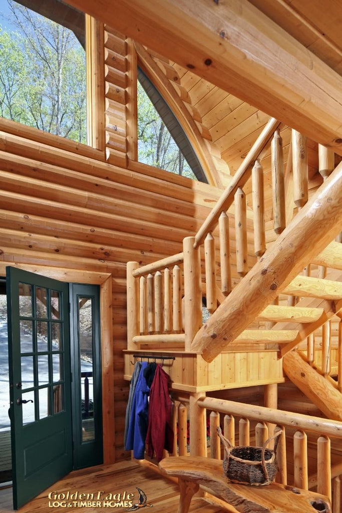 Golden Eagle Log Homes Round Half Log Stairs System