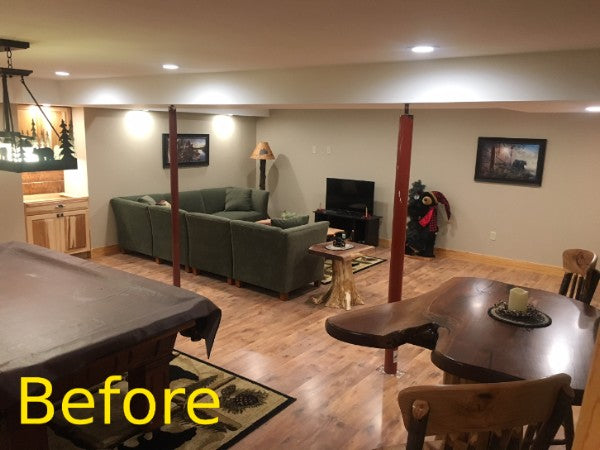 log post wrap before after rustic decor decoration man cave