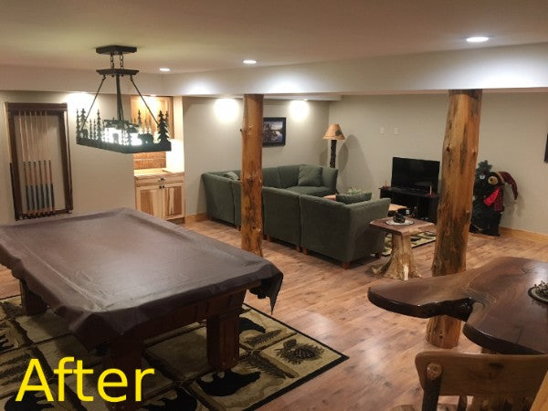 log post wrap before after decor rustic decoration man cave cabin