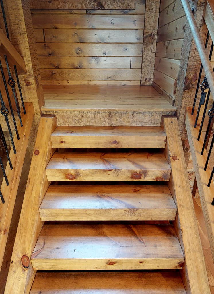 Square Timber Stair System from Log Home Mart