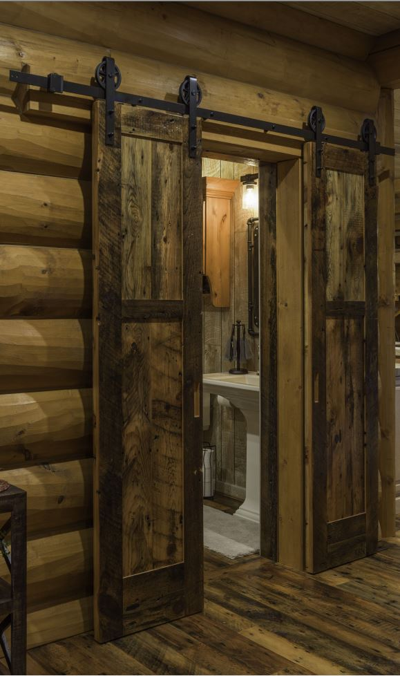 diamond barn door hardware hanger track wheels roller sliding rustic modern contemporary decor decoration accent interior barn strap horseshoe horse shoe diamond wagon wheel delaney log home cabin kitchen living room den family fancy affluent laura zach parmeter building my dream home youtube golden eagle log homes
