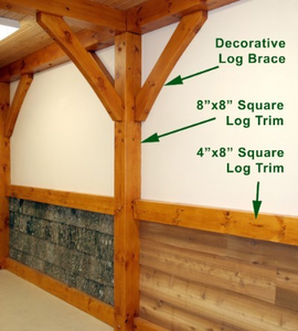 "4"" x 8"" Square-Edge Log Trim - Smooth or Hand-Hewn"