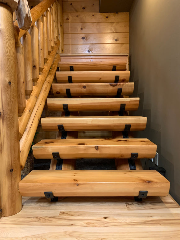 EZ Log stairs staircase stairway log home cabin decor rustic round log half log treads stringers brackets golden eagle