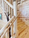 8 ft. cedar post 8' 8 foot white cedar deck loft stair stairs stairway post newel vertical golden eagle log homes jay sarah tod sharon zach parmeter log home mart wisconsin rapids