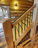 square railing timber rail rectangle rails stairs stairway steps loft fence pine rustic cabin log home timber house interior exterior decor rennovate diy do it yourself project kit parmeter golden eagle log home mart
