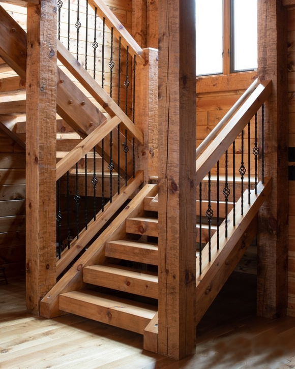 golden eagle log and timber homes log home mart parmeter square timber stairs treads stringers hand hewn smooth wisconsin rapids