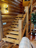 tread treads step steps log timber stairs stairway loft deck porch riser cabin rustic log home country horse farm getaway heaven stairs tread stringers stringer treads steps stairway log timber square cabin rustic kit log stairs timber stairs