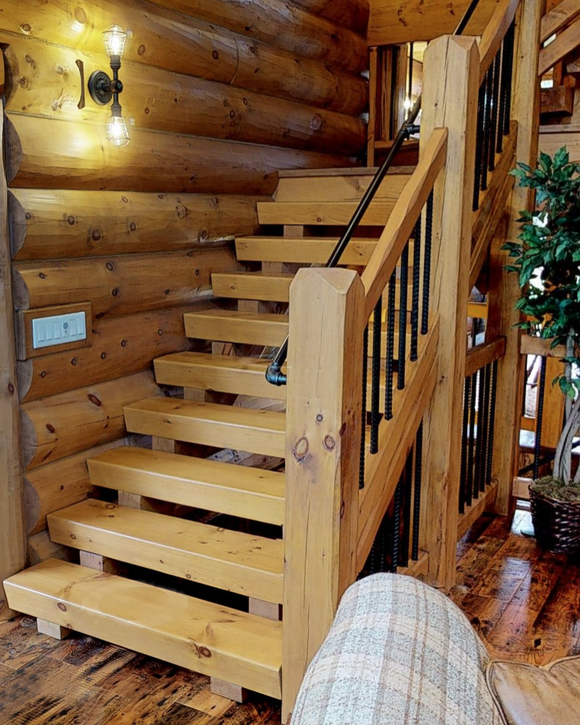 Premium Pre-Notched Square Timber Stairs System from Golden Eagle & Log Home Mart