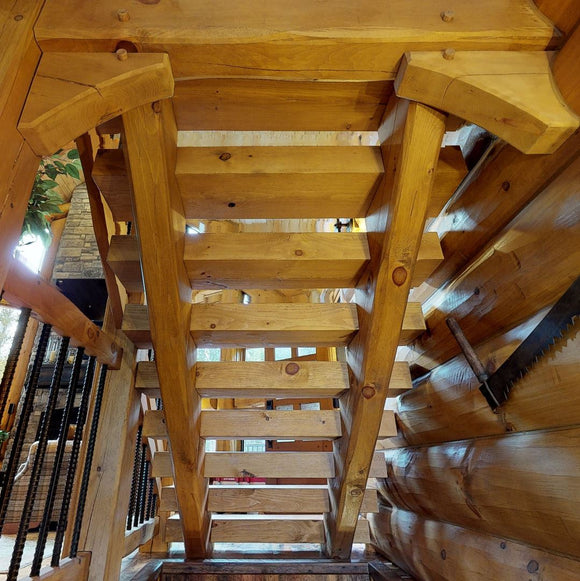 stairs tread stringers stringer treads steps stairway log timber square cabin rustic kit log stairs timber stairs