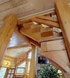 "Premium Square Timber Stair System w/ Pre-Notched Stringers - 48"" Wide"