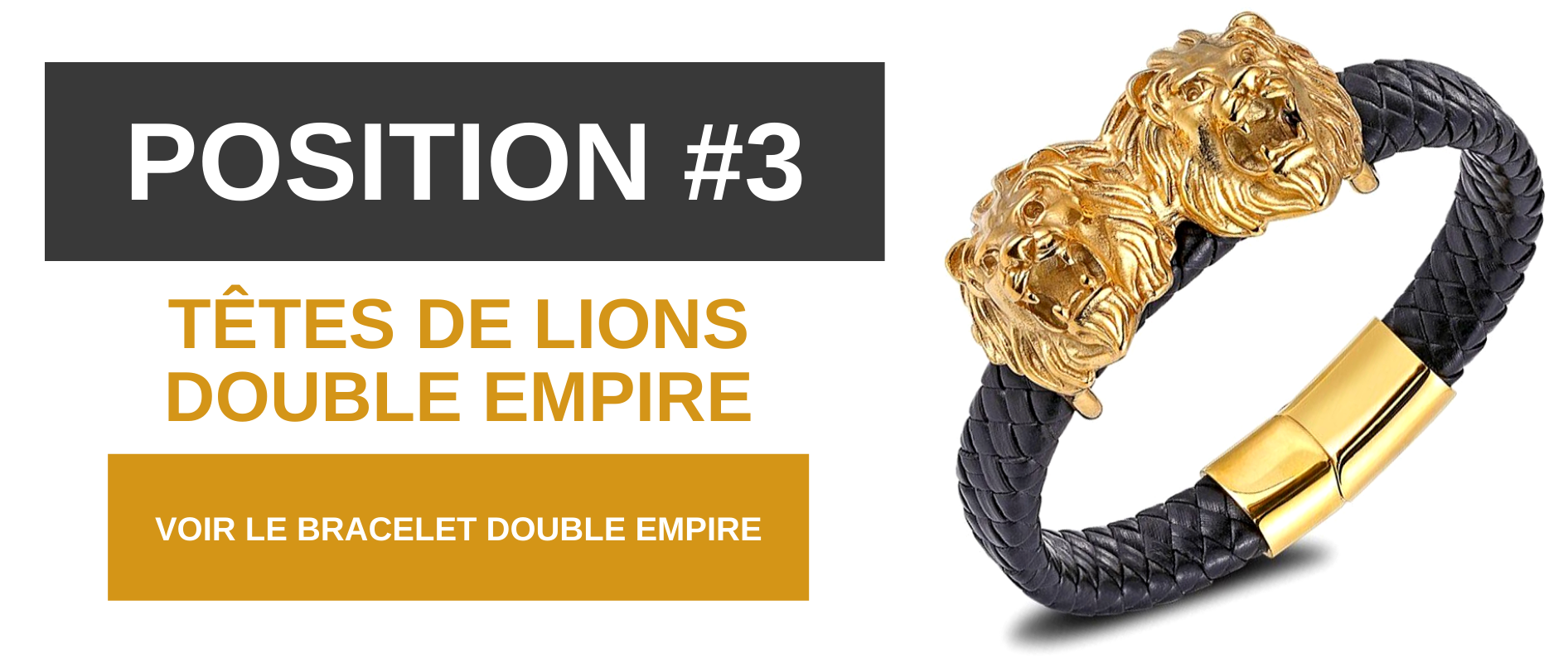 Bracelet têtes de lion double empire.