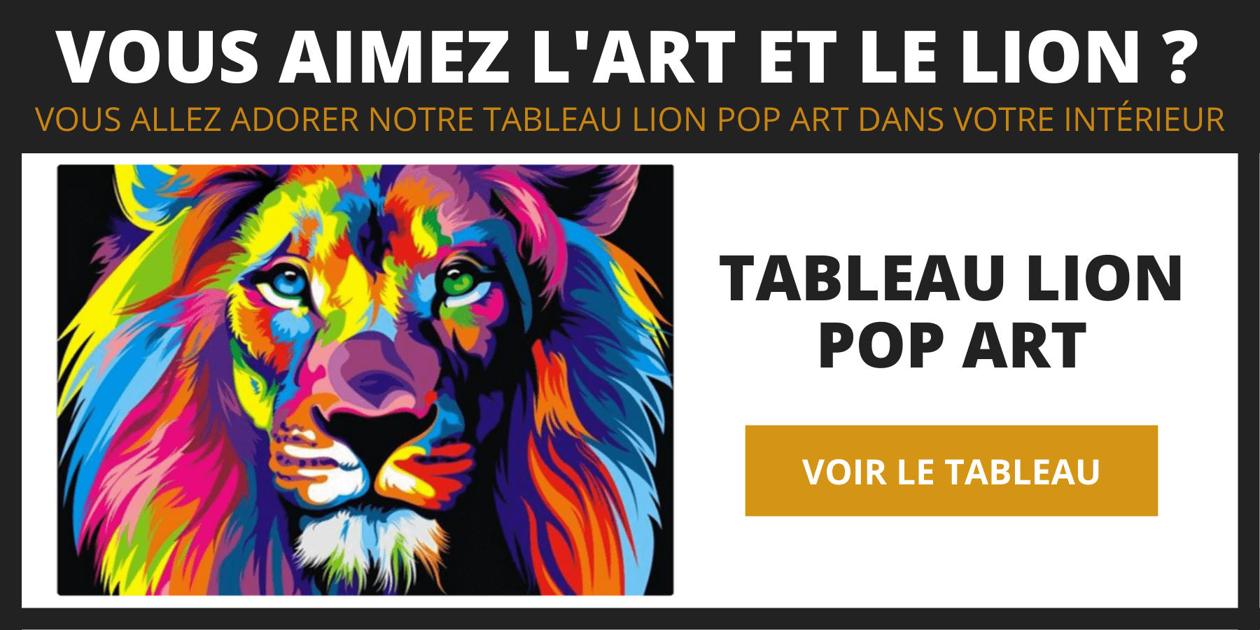 Tableau lion pop art.